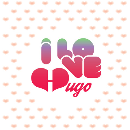 beloved: I love Hugo greeting card with heart shaped initial of the beloved one