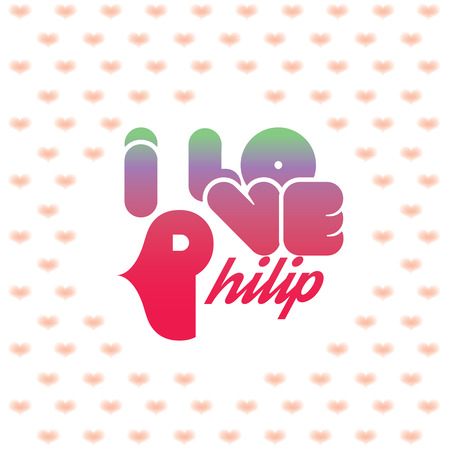 beloved: I love Philip greeting card with heart shaped initial of the beloved one Illustration