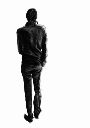 hands behind back: Man charcoal drawing seen from behind, whole figure