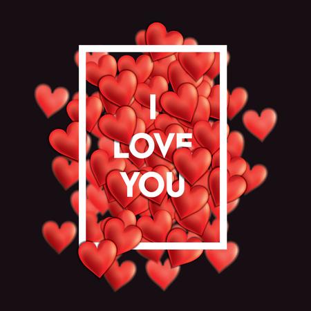 declaration: Valentine Days hearts composition with love declaration