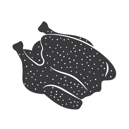 carcass: Gevogelte karkas grijs gekleurde illustratie, voedsel pictogram eenvoudig ontwerp Stock Illustratie