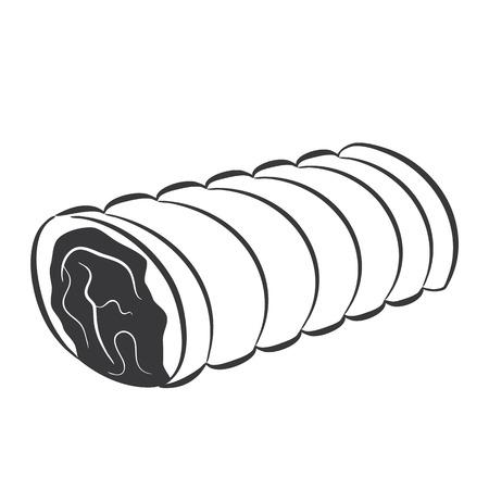 raw pork: Loin gray colored illustration, food icon simple design
