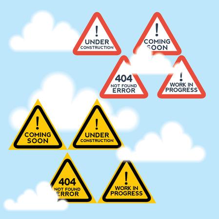 anticipation: Signs set for website under construction, anticipation motifs. Illustration