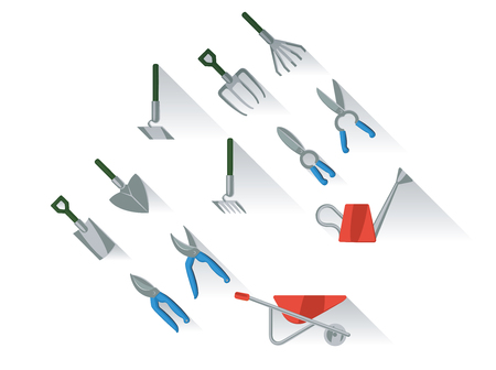 hand shovels: Gardening tools set flat illustration with long shadow