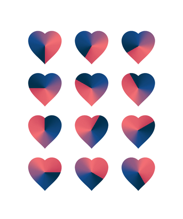 ranging: Heart shaped loading sequences ranging from blue hues to pink hues gradient