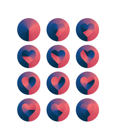 Heart shaped loading sequences ranging from blue hues to pink hues gradient