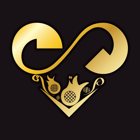 gold heart: Gold heart with floral pattern