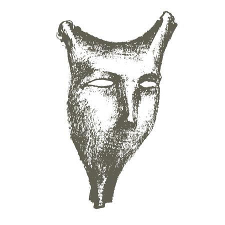 Hand drawn demonic mask isolated on white Illustration