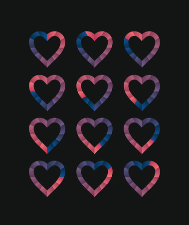 ranging: Heart shaped loading sequences ranging from blue gradients to pink gradients