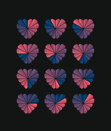 sequences: Heart shaped loading sequences ranging from blue gradients to pink gradients