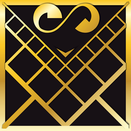 gold heart: Gold heart with square grid pattern
