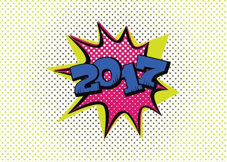 2017 in pop art style for the new year to come Illustration