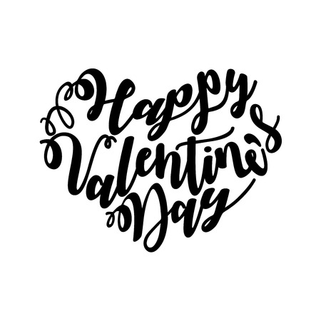 Happy Valentines Day written in a heart shape with hand lettering