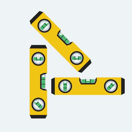 Level-Spirit-Tools in drei Versionen mit Luftblase ausgerichtet entsprechend Vektorgrafik