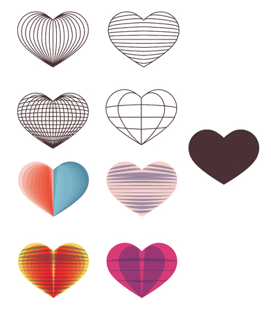 Hearts shapes in wireframe mode and with overlapping shapes. Ilustração