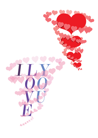 love declaration: Hearts tornados with more hearts inside or the declaration I love you