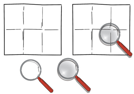 searcher: Magnifying glass with transparent effects over a blank folded paper