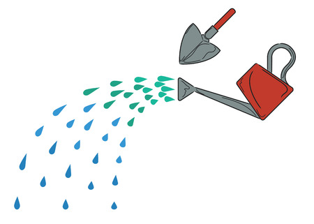 Watering can with water sprinkling from it and a shovel