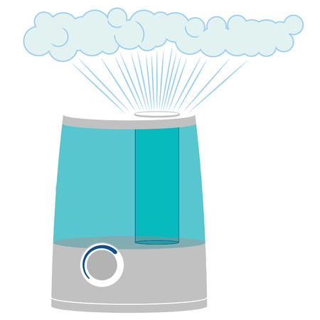 Humidifier machine turned on with steam coming out Ilustração