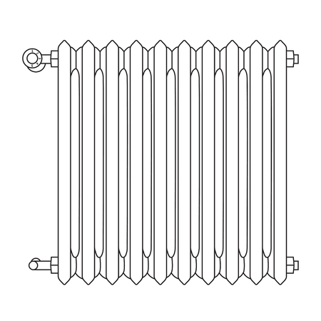 Home radiator line drawing with numbered heat levels Ilustração