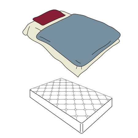 Mattress and bedding cartoon in perspective view