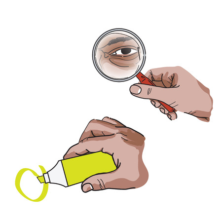 Search and mark illustrations with hands holding items, methaphorical Ilustração