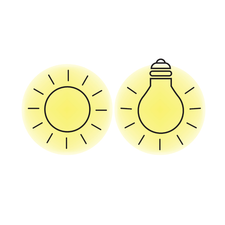 Sun light and electrically produced light symbols