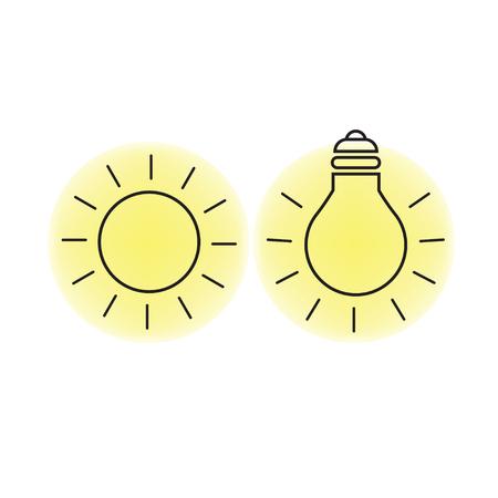 Zonlicht en elektrisch geproduceerde lichte symbolen