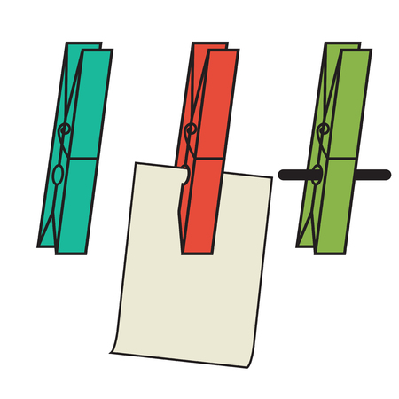 Clothes clips simple, holding a piece of paper, on a string Ilustração