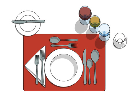 Table setting diagram with eating utensils, cups, placemat Illustration