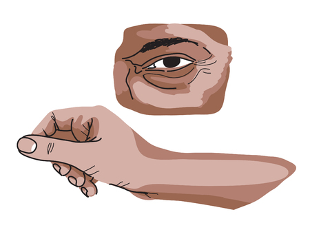 Eye and hand study with shadows and lines, artistic cartoon