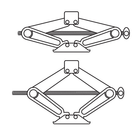 Car jack in two positions: up and down