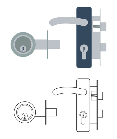 Door lock mechanism with handle and with dead bolt Çizim