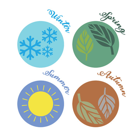 Seasons illustrated in circles with representative imagery