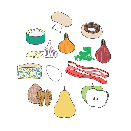 Food illustrations that are vegetables, ham, fruits, egg, cream, cheese