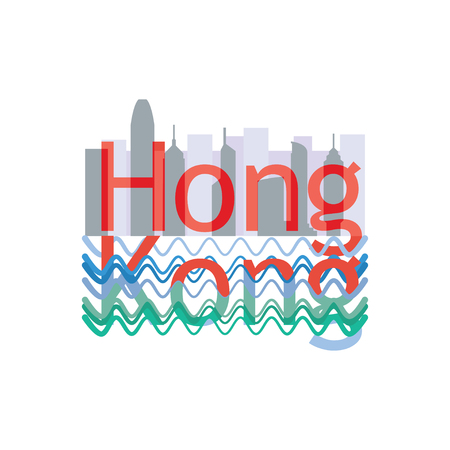 Hong Kong travelling and tourism composition with city line and water
