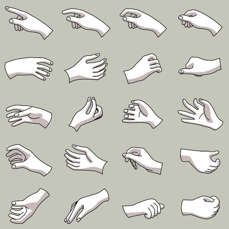 Hands in a collection of 20 different gestures Çizim