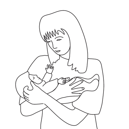 Woman torso and small baby line art Çizim