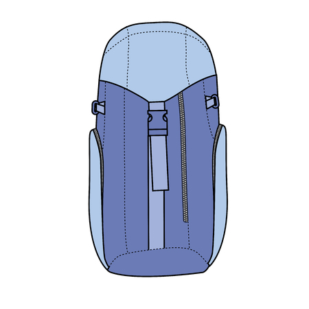 Hiking backpack for travel and mountain climbing. Çizim
