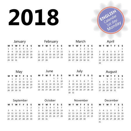 2018 wall calendar in English with first day of the week Monday