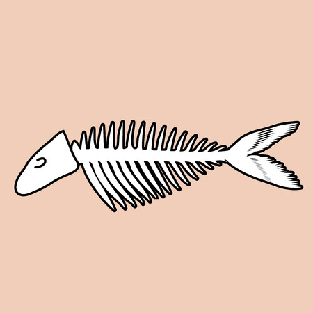Fish bone illustration with black outline. Çizim