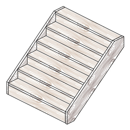 Isometric wooden staircase.
