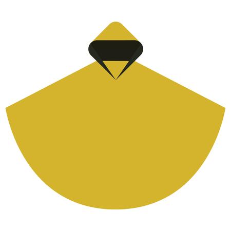Rain poncho in a minimalist style flat design.