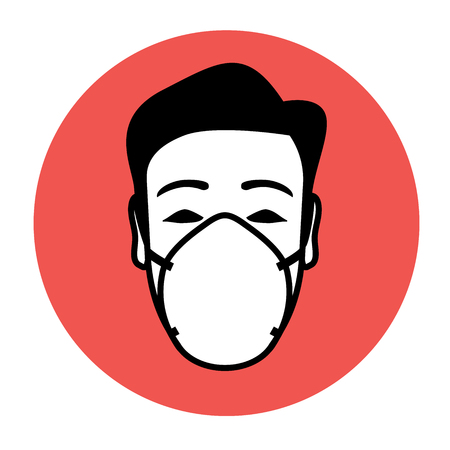 Protective mask wearing icon with potential of warning and advising