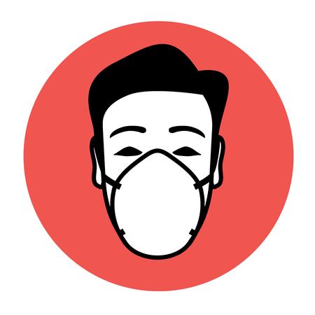 Ikona nosząca maskę ochronną z potencjałem ostrzegawczym i doradczym