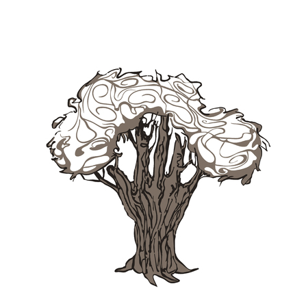 Tree is a human hand, drawn in graphic style