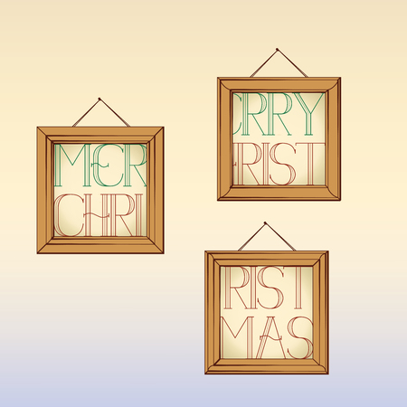 Christmas design text written in frames on the wall.