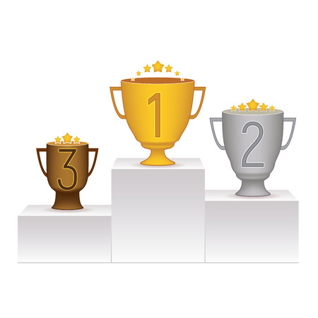 1 位から 3 位にトロフィーと表彰台