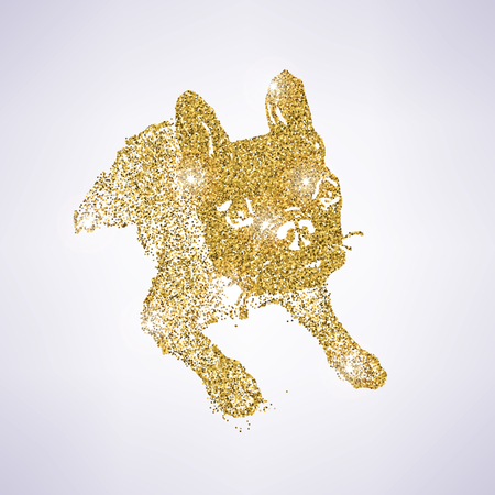 Golden glitter dog sitting icon Çizim