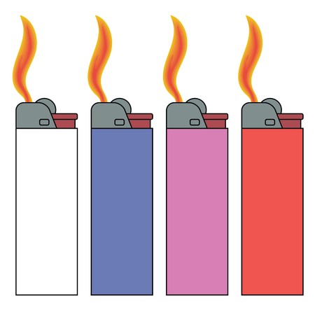 Lighters with flames in four colors